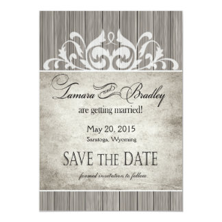 Rustic Wood Filigree Save the Date | grey white Card