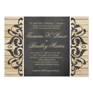 Rustic Wood Filigree Wedding | blonde chalkboard Card