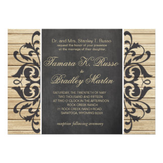 Rustic Wood Filigree Wedding blonde chalkboard Card