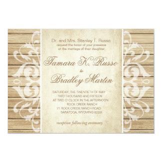 Rustic Wood Filigree Wedding | blonde white Card