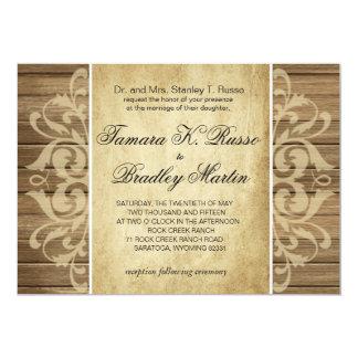 Rustic Wood Filigree Wedding | brown tan Card