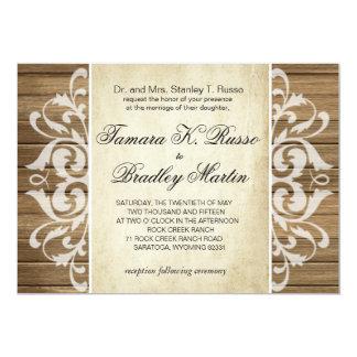 Rustic Wood Filigree Wedding | brown white Card