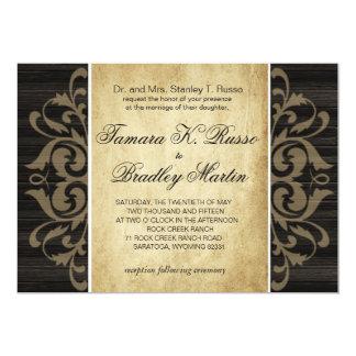 Rustic Wood Filigree Wedding | ebony tan Card