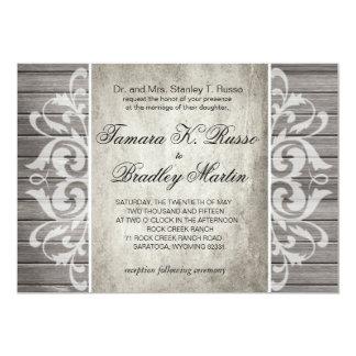 Rustic Wood Filigree Wedding | grey white Card