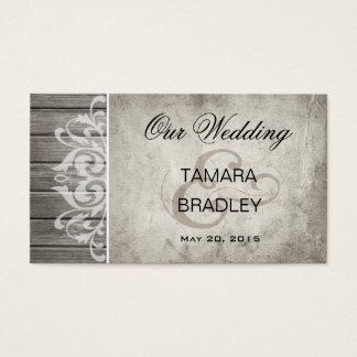 Rustic Wood Filigree Wedding Website | grey Business Card