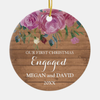 Rustic wood First Christmas Engaged or married Ceramic Ornament