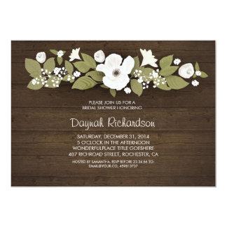 rustic wood floral bridal shower card