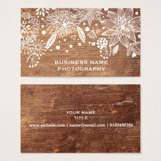 rustic wood floral business card design