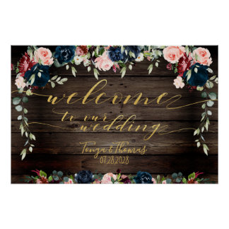 Rustic Wood Floral Gold Fancy Calligraphy Welcome Poster