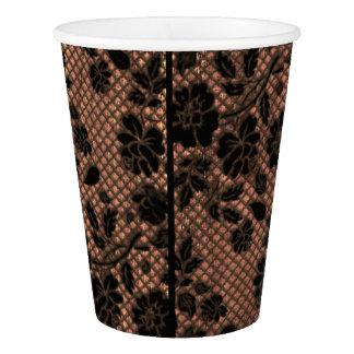 Rustic Wood & Floral Lace Lacy Lingerie Shower Paper Cup