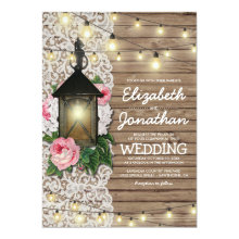 Rustic Wood Floral Lace Lantern Lights Wedding Invitations