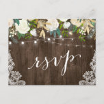 """Rustic Wood Floral Lace String Lights Wedding RSVP Invitation Postcard<br><div class=""""desc"""">Create your own Response Card with this &quot;Rustic Wood Floral Lace String Lights Wedding RSVP Postcard&quot; template to match your wedding style, colors and theme. It&#39;s easy to customize it to be uniquely yours! (1) For further customization, please click the &quot;customize further&quot; link and use our design tool to modify...</div>"""