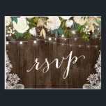 "Rustic Wood Floral Lace String Lights Wedding RSVP Postcard<br><div class=""desc"">Create your own Response Card with this &quot;Rustic Wood Floral Lace String Lights Wedding RSVP Postcard&quot; template to match your wedding style, colors and theme. It&#39;s easy to customize it to be uniquely yours! (1) For further customization, please click the &quot;customize further&quot; link and use our design tool to modify...</div>"