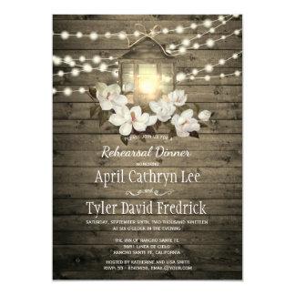 Rustic Wood Floral Lantern Lights Rehearsal Dinner Card