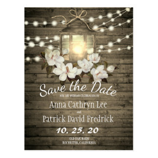 Rustic Wood Floral Lantern Lights Save The Date Postcard