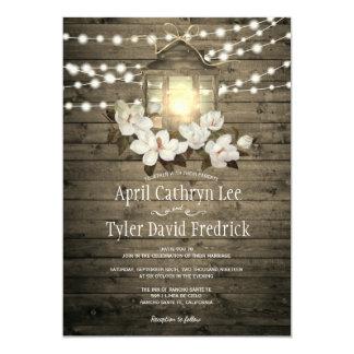 Rustic Wood Floral Lantern Lights Wedding Card
