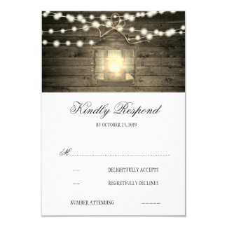 Rustic Wood Floral Lantern Lights Wedding RSVP Card