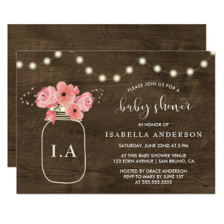 Rustic Wood Floral Mason Jar & Light Baby Shower Invitation