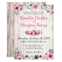 Rustic Wood Floral Rose Country Wedding Invitation