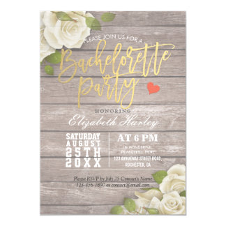 Rustic Wood Floral String Light Bachelorette Party Card