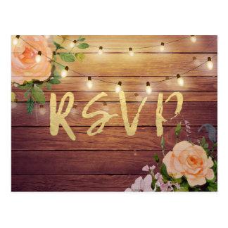 Rustic Wood Floral String Light Wedding RSVP Reply Postcard