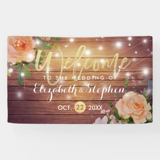 Rustic Wood Floral String Lights Wedding Banner