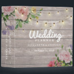 """Rustic Wood Floral String Lights Wedding Planner 3 Ring Binder<br><div class=""""desc"""">Wedding Planner Binder Templates - Vintage Watercolor Floral and Elegant String Lights on Rustic Wood Texture Background. A Perfect Design for your Big Day. All text style,  colors,  sizes can be modified to fit your needs.</div>"""