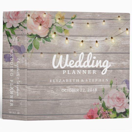Rustic Wood Floral String Lights Wedding Planner 3 Ring