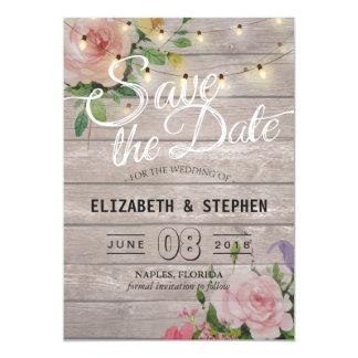 Rustic Wood Floral String Lights Wedding Save Date Card