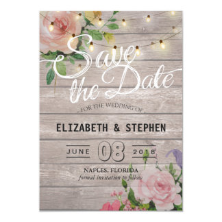 Rustic Wood Floral String Lights Wedding Save Date Card