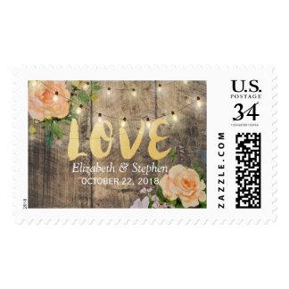 Rustic Wood Floral String Lights Wedding Shower Postage