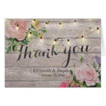 Rustic Wood Floral String Lights Wedding Thank You
