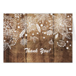 rustic wood floral thank you card