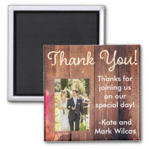 Rustic Wood Floral Thank You Wedding Magnet