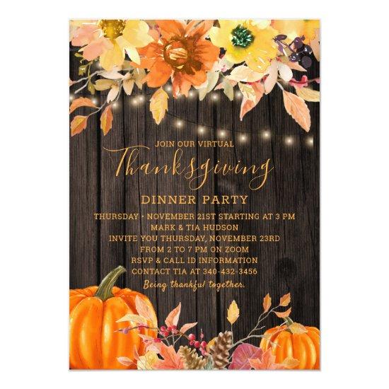 Rustic Wood Floral Virtual Thanksgiving Dinner Invitation