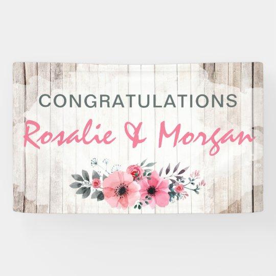 rustic wood floral wedding congratulations sign zazzle com