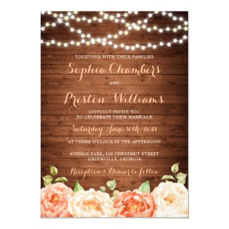 Rustic Wood Floral Wedding Invitation