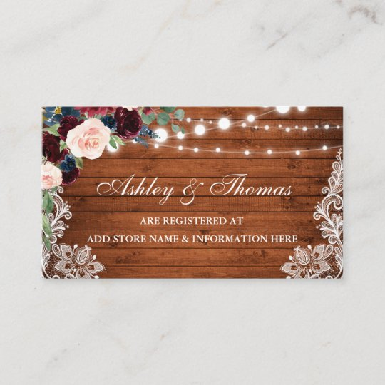 rustic wood floral wedding registry insert card