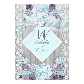 Rustic Wood Floral Wedding White Lace Teal Blue Invitation