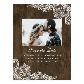 Rustic Wood Floral White Lace Photo Save the Date Postcard