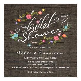 Rustic Wood Floral Wreath Bridal Shower Invites