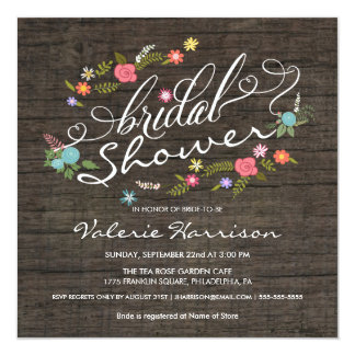 Rustic Wood Floral Wreath Bridal Shower Invites