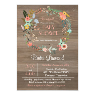 Rustic Wood, Floral Wreath Shabby Chic Baby Shower Card