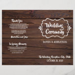 """Rustic Wood Folded Wedding Program<br><div class=""""desc"""">Please contact me if you would like to customize this design further. Rustic Wood Folded Wedding Program</div>"""