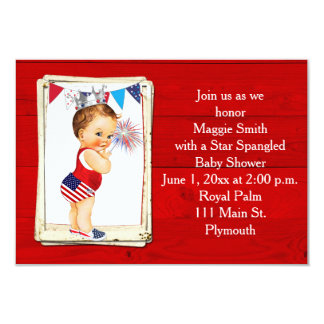 Rustic Wood Fourth of July Baby Shower Invitation