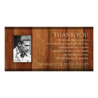 Rustic Wood Frame Sympathy Thank You Photo Card