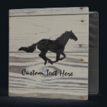 """Rustic Wood Galloping Horse Watercolor Silhouette 3 Ring Binder<br><div class=""""desc"""">I&#39;ve been finding more really old boards around the farm for inspiration. A simple watercolor horse silhouette seems to perfectly complement the old board images.</div>"""