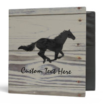 Rustic Wood Galloping Horse Watercolor Silhouette 3 Ring Binder