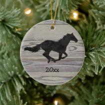 Rustic Wood Galloping Horse Watercolor Silhouette Ceramic Ornament