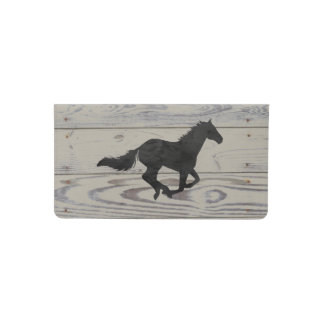 Rustic Wood Galloping Horse Watercolor Silhouette Checkbook Cover